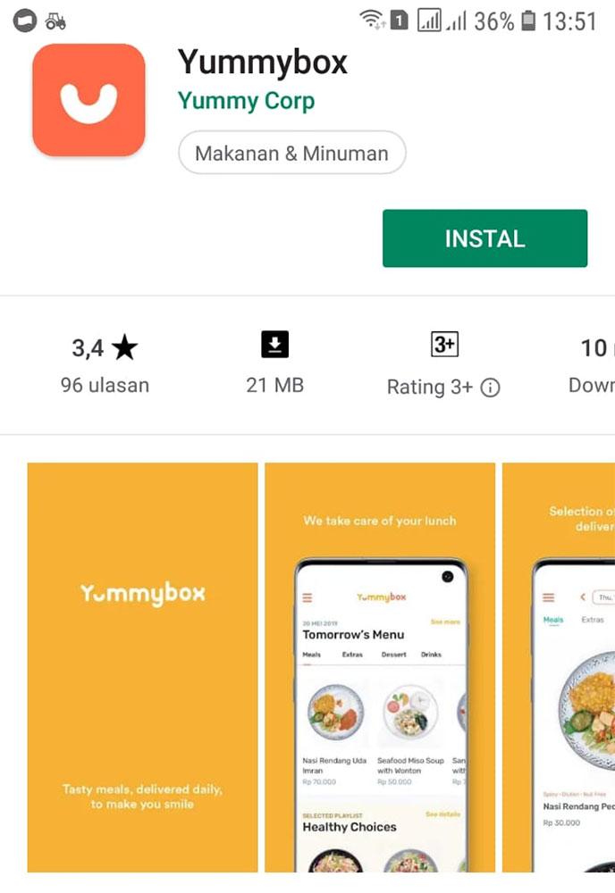 Aplikasi Yummybox yang tersedia di playstore Android atau iOS