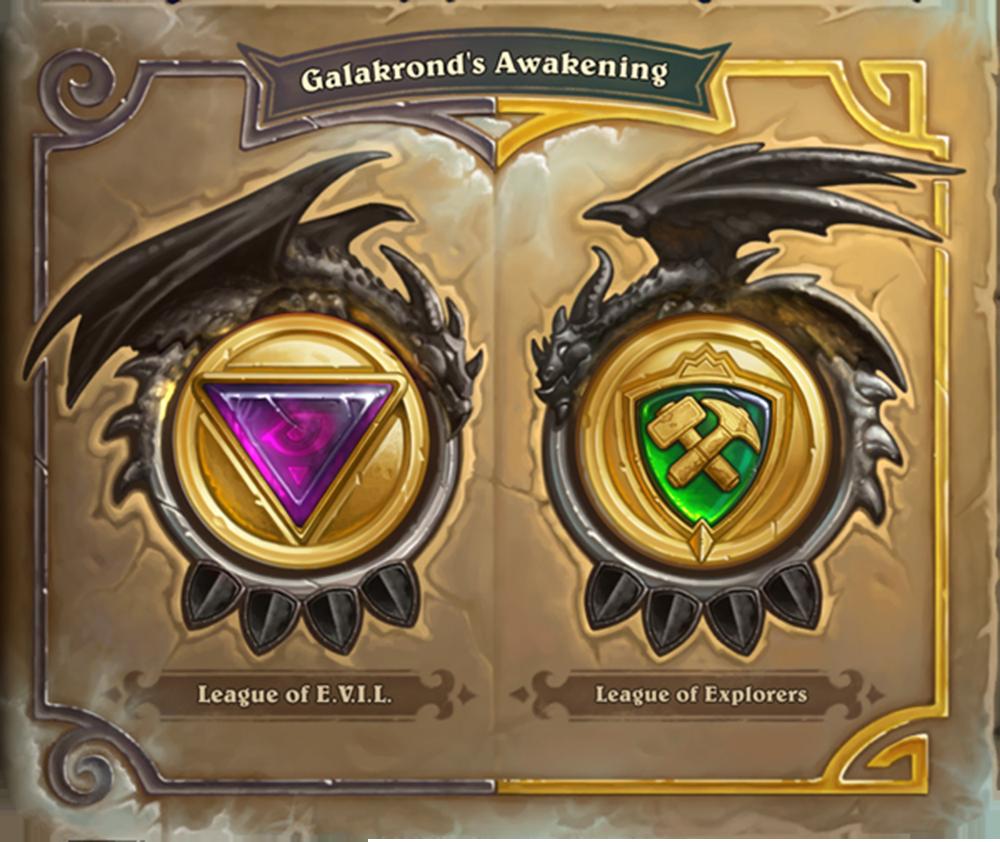 Galakrond's Awakening berisi empat tahap, dengan masing masing tahap berisi dua chapter—satu tentang League of E.V.I.L., dan yang lain tentang League of Explorers.