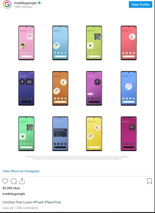 Google Pixle 6 di Instagram